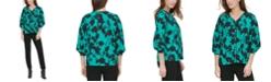 Calvin Klein Blouson-Sleeve Printed Top