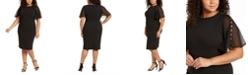 Calvin Klein Plus Size Chiffon-Sleeve Sheath Dress