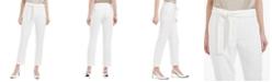 Calvin Klein Windowpane-Print Belted Pants