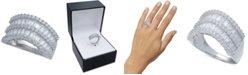 Macy's Cubic Zirconia Baguette Two Row Wavy Statement Ring in Sterling Silver (Also Available in Blue and Multi)