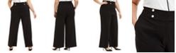 Calvin Klein Plus Size Pearl-Button Wide-Leg Pants