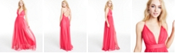 Emerald Sundae Juniors' Plunging Sleeveless Tulle Dress