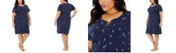 Karen Scott Plus Size Sailboat-Print Lace-Up Dress, Created for Macy's