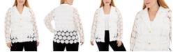 Belldini Plus Size Floral Crochet Jacket