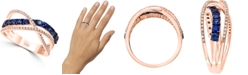LALI Jewels Sapphire (7/8 ct. t.w.) & Diamond (1/5 ct. t.w.) Crossover Statement Ring in 14k Rose Gold