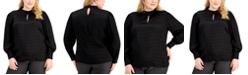 Alfani Plus Size Mock-Neck Keyhole Blouse, Created for Macy's