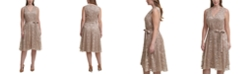 Tommy Hilfiger Plus Size Embroidered Mesh Fit & Flare Dress