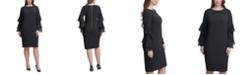 Calvin Klein Plus Size Crepe Chiffon-Sleeve Sheath Dress