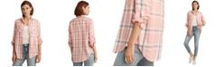 Lauren Ralph Lauren Plaid Roll-Tab Sleeve Top
