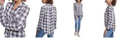 DKNY Jeans Plaid Puff-Sleeve Shirt