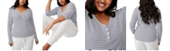 COTTON ON Women's Trendy Plus Size Lincoln Henley Long Sleeve Top