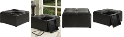Furniture Avalon Faux Leather Coffee Table Storage Ottoman, Quick Ship