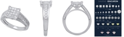 Macy's Diamond Princess Cluster Engagement Ring (1-1/2 ct. t.w.) in 14k White Gold