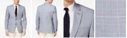 Tommy Hilfiger Men's Modern-Fit Flex Stretch Blue/Red Plaid Sport Coat