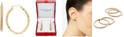 Macy's Textured Oval Hoop Earrings in 14k Gold, 1 3/8 inch