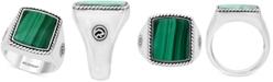 EFFY Collection EFFY® Men's Malachite Ring in Sterling Silver