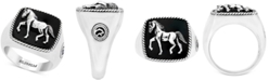 EFFY Collection EFFY® Men's Onyx Horse Ring (16-1/2mm x 16-1/2mm) in Sterling Silver