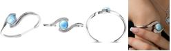 Marahlago Larimar & White Sapphire (3/8 ct. t.w.) Cuff Bracelet in Sterling Silver