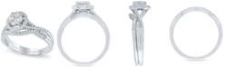 Macy's Diamond Halo Cluster Bridal Set (1/2 ct. t.w.) in 14k White Gold