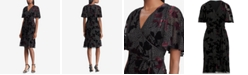 df5cd2bb03 Lauren Ralph Lauren Velvet-Trim Floral-Embroidered Wrap Dress ...