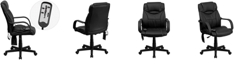 Flash Furniture Mid-Back Massaging Black Leather Executive Swivel Chair With Arms
