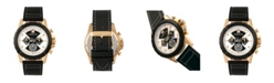 Morphic M57 Series, Gold Case, Black Chronograph Leather Band Watch, 43mm