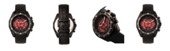 Morphic M66 Series, Skeleton Dial, Black Case, Black Leather Band Watch w/Day/Date, 45mm