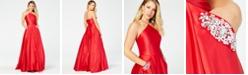 Blondie Nites Juniors' Satin Beaded-Pocket Halter-Neck Gown