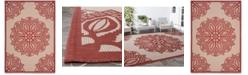 Safavieh Courtyard Beige and Red 8' x 11' Sisal Weave Area Rug