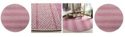 "Safavieh Courtyard Light Gray and Fuchsia 6'7"" x 6'7"" Sisal Weave Round Area Rug"