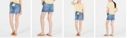Dollhouse Juniors' Asymmetrical Raw-Edge Denim Mini Skirt