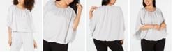 Alfani Plus Size Satin Bubble-Hem Top, Created for Macy's