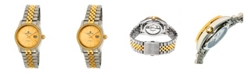 Empress Constance Automatic, Silver Case, Gold Dial, Silver Stainless Steel Watch 37mm