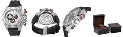 Roberto Cavalli By Franck Muller Men's Swiss Chronograph White Dial Black Rubber Strap Watch, 44mm