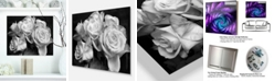"Design Art Designart 'Bunch Of Roses Black And White' Floral Metal Wall Art - 20"" X 12"""
