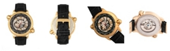 Reign Thanos Automatic Black Dial Gold Case, Genuine Black Leather Watch 47mm