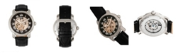 Reign Kahn Automatic Skeleton Black Dial, Silver Case, Genuine Black Leather Watch 45mm
