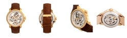 Reign Matheson Automatic Gold Case, Genuine Brown Leather Watch 45mm