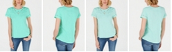 Charter Club Petite Cutout-Neck Top, Created for Macy's