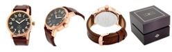 Joseph Abboud Men's Analog Brown Leather Strap Watch 28mm