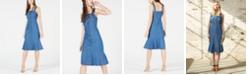 OAT Button-Front Flounce Denim Dress