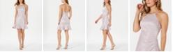 Nightway Ruched-Side Flounce-Hem Dress