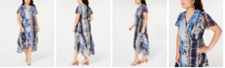 INC International Concepts I.N.C. Plus Size Tie-Dyed Tiered-Hem Wrap Dress, Created for Macy's