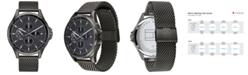Tommy Hilfiger Men's Gunmetal Stainless Steel Mesh Bracelet Watch 44mm, Created For Macy's