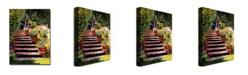 "Trademark Global David Lloyd Glover 'Pink Daisies Wooden Steps' Canvas Art - 32"" x 24"""