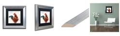 """Trademark Global Jennifer Redstreake 'Dans la Ferme Rooster II' Matted Framed Art - 11"""" x 11"""""""