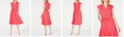 Anne Klein Dot-Print Cap-Sleeve A-Line Dress