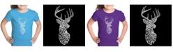 LA Pop Art Girl's Word Art T-Shirt - Types of Deer