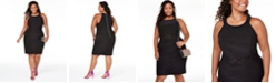 Emerald Sundae Trendy Plus Size Illusion-Waist Bodycon Dress
