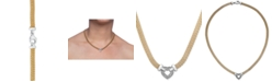 Macy's Diamond Heart Necklace in 14k Gold Vermeil and Sterling Silver (1/8 ct. t.w.)